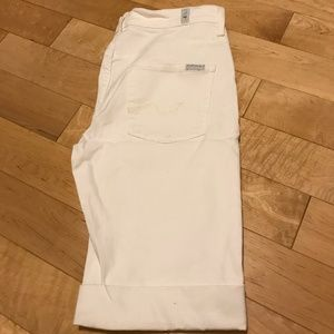 7 For All Mankind Ginger Mid-Rise White Shorts, 29